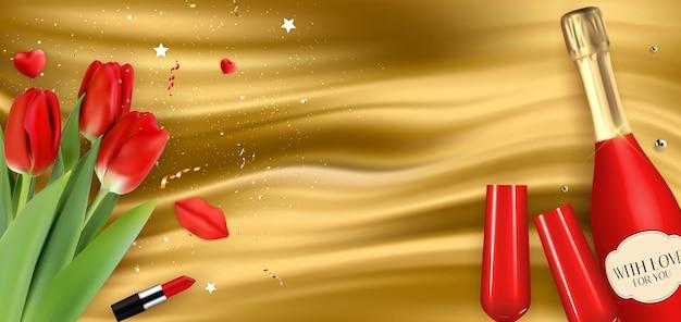 Botella roja de champán 3d realista, vasos y tulipanes sobre fondo de seda dorada