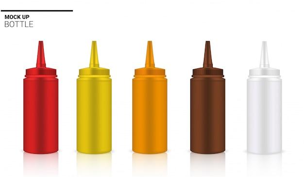 Botella de salsa realista ampolla o gotero rojo, marrón y amarillo embalaje.