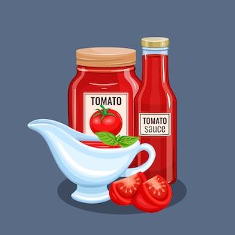 Botella de salsa de tomate y platillos.
