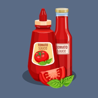 Botella de salsa de tomate.