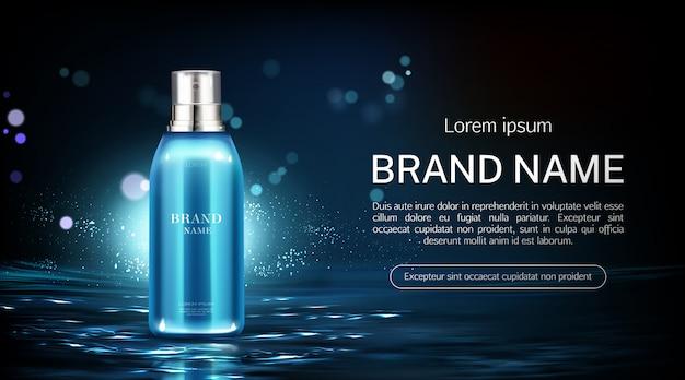 Botella de spray cosmético banner producto de belleza