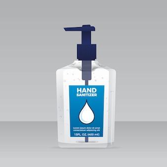 Botella de spray con desinfectante de manos estilo realista
