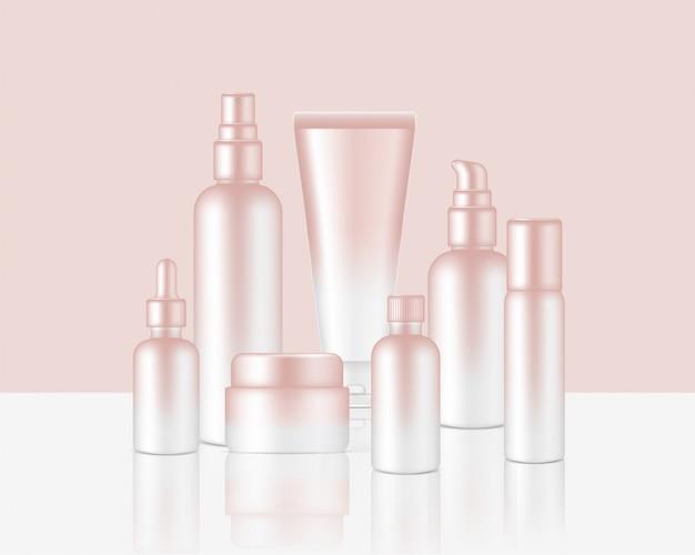 Botella de spray jabón cosmético de oro rosa realista, champú, crema, juego de goteros de aceite para productos para el cuidado de la piel