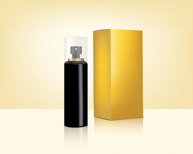 Botella de spray mock up realistic gold cosmetic y caja para el cuidado de la piel