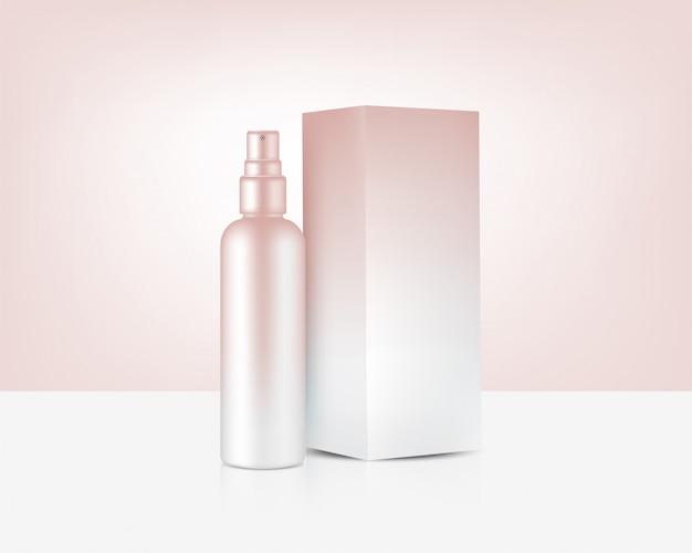 Botella de spray mock up realistic rose gold cosmetic y caja para ilustración de fondo de productos para el cuidado de la piel