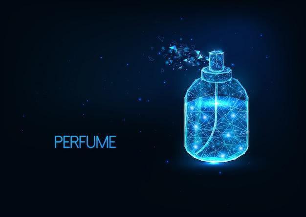 Botella de spray de perfume futurista brillante bajo poligonal aislado sobre fondo azul oscuro.