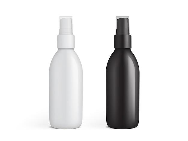 Botella de spray de plástico blanco y negro aislado