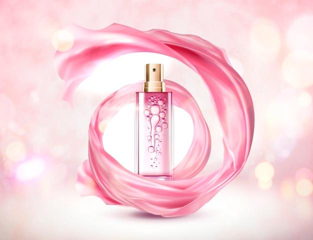 Botella de spray rosa cosmético con gasa arremolinado sobre fondo brillante