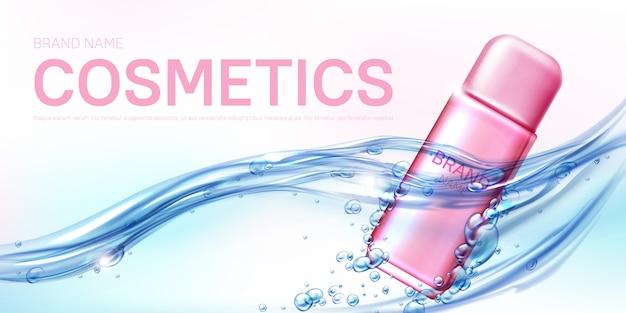 Botella de spray rosa desodorante femenino en flujo de agua