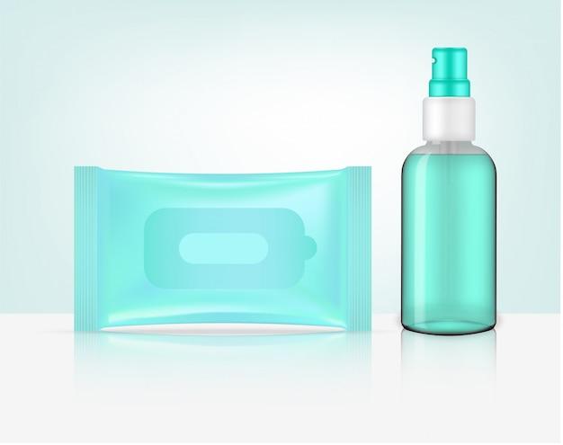 Botella de spray transparente realista en 3d y producto de embalaje de bolsita con toallita húmeda. diseño de concepto de hogar y salud.
