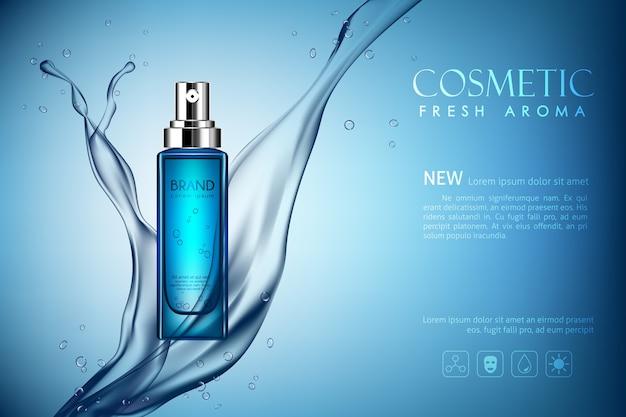 Botella de spray de vector maqueta cosmética de aroma fresco con salpicaduras de agua oscura