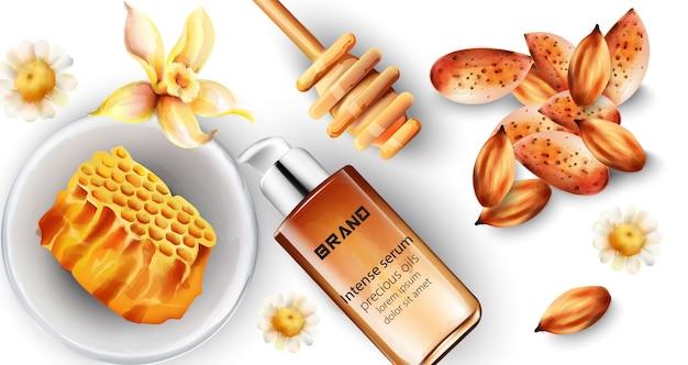 Botella de suero intenso con decoraciones de almendras y miel.