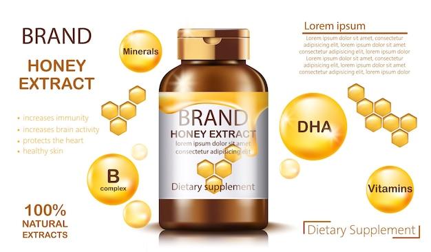 Botella con suplemento dietético de extracto de miel natural
