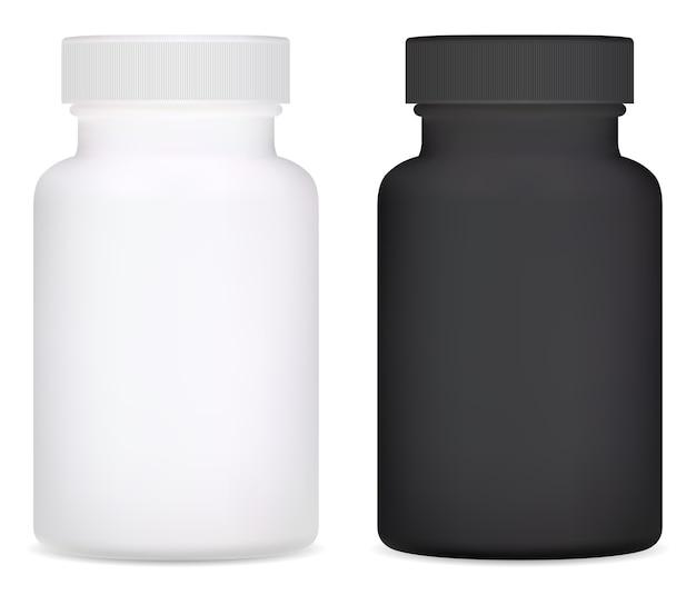 Botella de suplemento. ilustración de botella de píldora de vitamina plástica