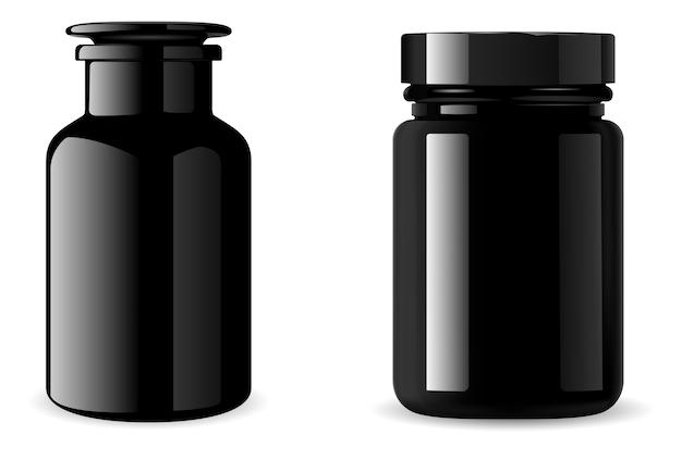 Botella de suplemento negro. frasco de medicina. 3d