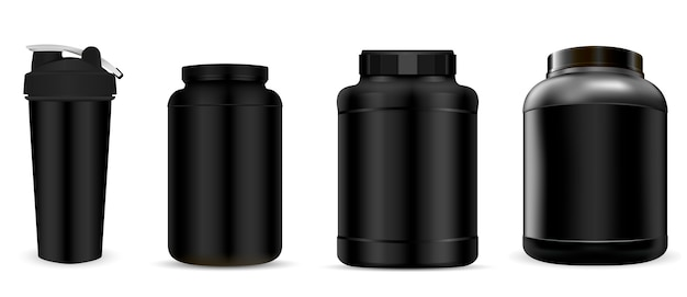 Botella de suplemento de proteína de suero. jar deportivo