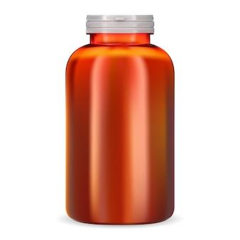 Botella de suplemento tarro de píldora de vitamina de plástico naranja recipiente 3d aislado en blanco para cápsula médica o tableta paquete de medicina farmacéutica