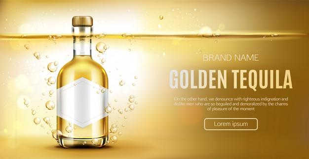 Botella de tequila en amarillo vector gratuito