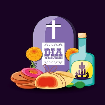 Botella de tequila día de la fiesta de muertos