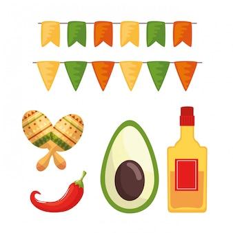 Botella de tequila mexicana aguacate chile y maracas
