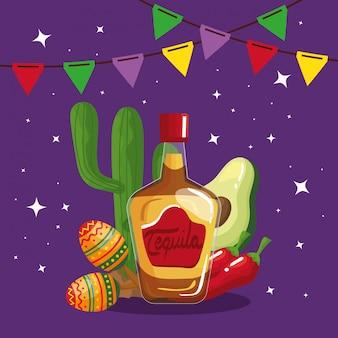 Botella de tequila mexicana maracas cactus aguacate y chile