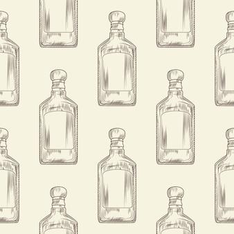 Botella de tequila sin patrón. fondo de pantalla de bebida alcohólica mexicana tradicional.