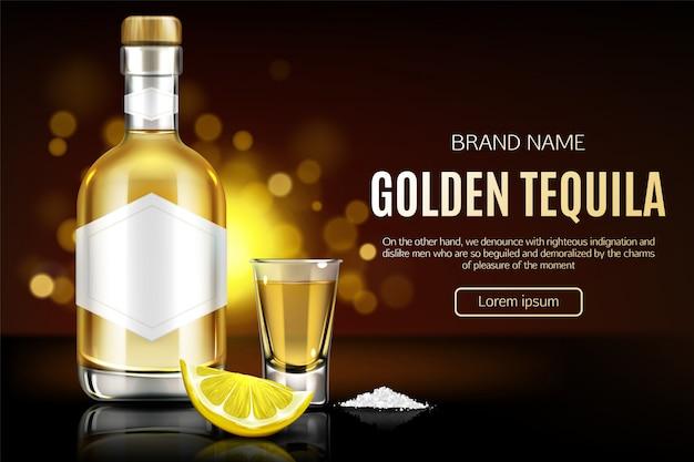 Botella de tequila, vaso de chupito, rodaja de sal y limón