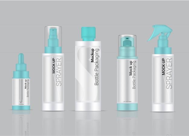 Botella transparente producto de cuidado de la piel realista