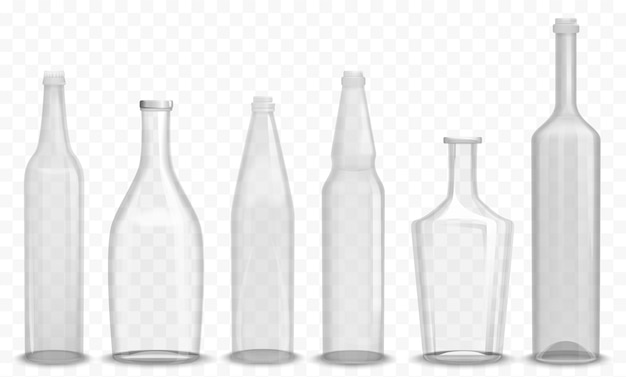 Botella vacía de vidrio realista en varios conjuntos