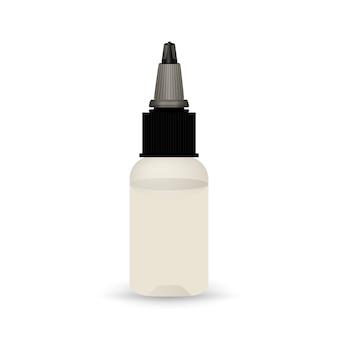 Botella de vape blanca con líquido.