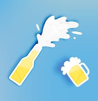 Botella y vaso de cerveza con burbuja en la ilustración de vector de estilo de corte de papel