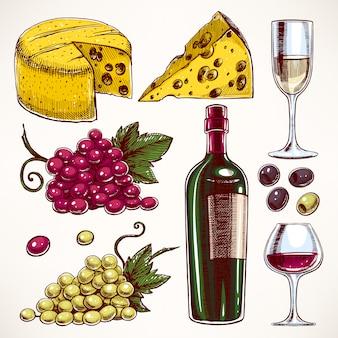 Con una botella y vasos de vino, racimo de uvas y queso