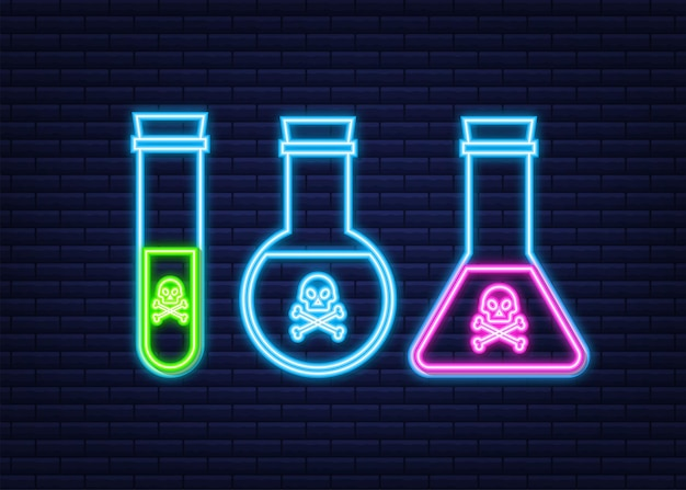 Botella de veneno tóxico ácido mágico con calavera. icono de neón. ilustración de stock vectorial.
