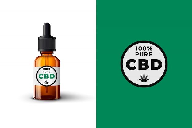 Botella de vidrio de aceite de cbd realista, hoja de cannabis