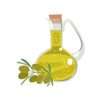 Botella de vidrio con aceite de oliva y una ramita con frutas y hojas de olivo.