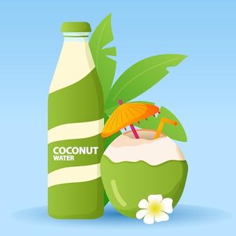 Botella de vidrio de bebida de agua de coco verde. cóctel fresco de cocos. agua de bebida exótica con un paraguas y una paja, flor de orquídea.