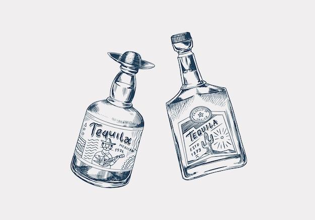 Botella de vidrio con bebida fuerte