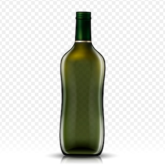 Botella de vidrio en blanco, fondo transparente aislado
