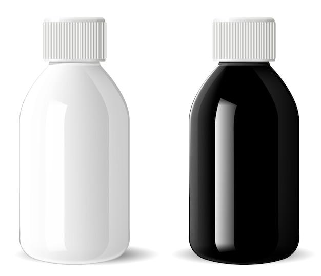 Botella de vidrio brillante. vial cosmético médico