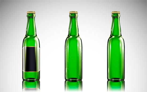 Botella de vidrio de cerveza verde