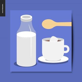 Botella de vidrio de leche, cuchara de madera y una taza de café o chocolate caliente con malvavisco.