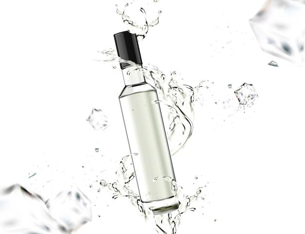 Botella de vidrio con líquido arremolinándose a su alrededor sobre fondo blanco.