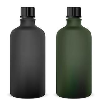 Botella de vidrio médica en blanco. vial de la medicina para el jarabe. gorra