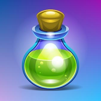 Botella de vidrio química llena de una poción líquida verde.