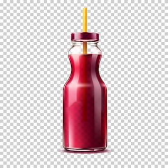 Botella de vidrio realista con jugo de uva o smothie de bayas moradas
