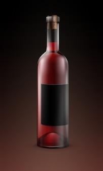 Botella de vidrio transparente de vector de vino tinto con etiqueta negra aislada sobre fondo oscuro