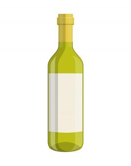 Botella de vino aislado en blanco