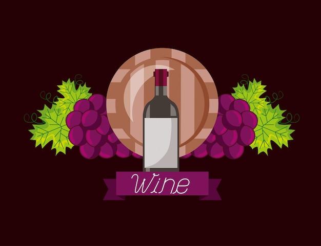 Botella de vino barril de madera uvas