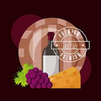 Botella de vino barril queso y uvas frescas