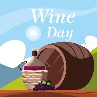 Botella de vino en cesta de mimbre, etiqueta día del vino